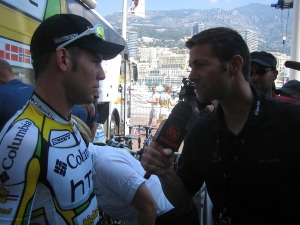 Interviewing Cav before the start of Stage 2
